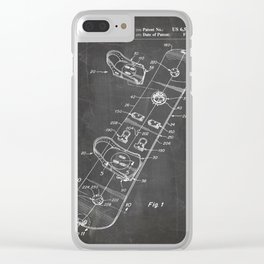 Snowboard Patent - Snowboaring Art - Black Chalkboard Clear iPhone Case