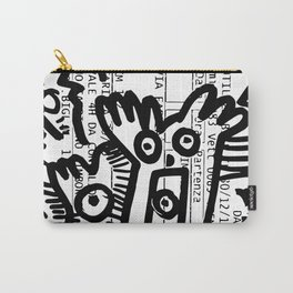 Creatures Graffiti Black and White on French Train Ticket Carry-All Pouch