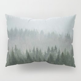 Parallax Monochromatic Misty Pine Forest Landscape Photo Pillow Sham