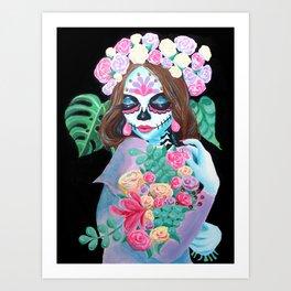 Sugar Skull Girl with Flowers - La Catrina Art Print