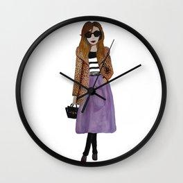 Fashion Illustration 'Lila' leopard coat outfit Wall Clock