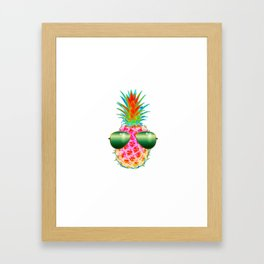 Electric Pineapple with Shades Framed Art Print
