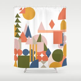 Folksy Geometric Abstract Landscape Shower Curtain