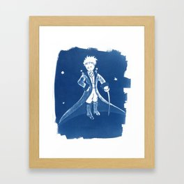 Little Prince Cyanotype Framed Art Print