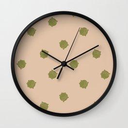 Round Bunny Pattern- Brown Tan Wall Clock