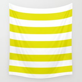 Peridot - solid color - white stripes pattern Wall Tapestry