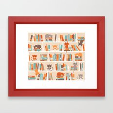 Library cats Framed Art Print