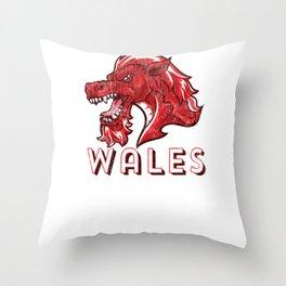 Wales Flag Welsh Red Dragon Baner Cymru Y Ddraig Goch print Throw Pillow