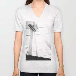 Bridge in Ludwigshafen, Germany. Unisex V-Neck