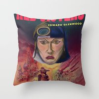 "book cover Throw Pillows featuring ""Red Sisters"" Book Cover by 7 Hells: Retro Horror art of Bill Rude"
