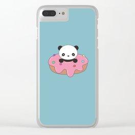 Kawaii Cute Panda Donut Clear iPhone Case