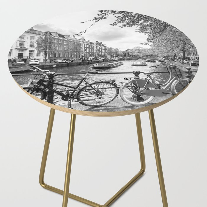 Bicycles parked on bridge over Amsterdam canal Side Table