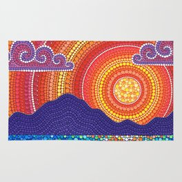 Elegant Sunset over Mountains Rug