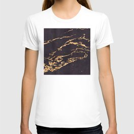 Black Suede Marble With Romantic 24-Karat Gold Veins T-shirt