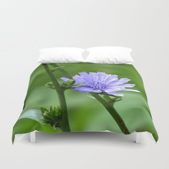 Nature's Garden Purple And Green Duvet Cover