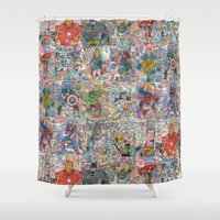 supergirl Shower Curtains featuring Vintage Comic Superheroes Galore (Limited Time) by Dave Seedhouse.com
