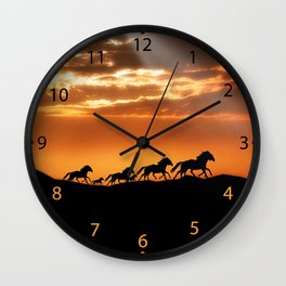 Horses in sunset Wall Clock