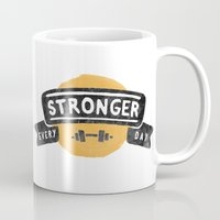 crossfit Mugs featuring Stronger Every Day (dumbbell) by Lionheart Art