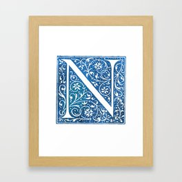 Letter N Antique Floral Letterpress Framed Art Print
