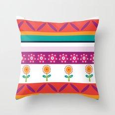 flower dot stripe Throw Pillow