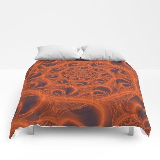 Fractal Web in Halloween Orange Comforters