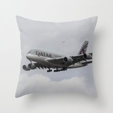 Qatar Airlines Airbus And Seagull Escort Throw Pillow