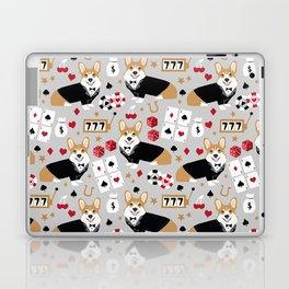 Corgi blackjack poker night dog breed pet art tuxedo red welsh corgi Laptop & iPad Skin