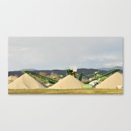 Conveyor on site at gravel pit with sand pile Canvas Print