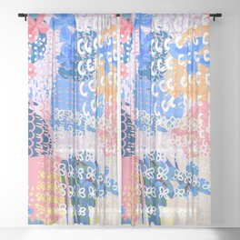 Trendy abstract fashion pattern in spotty shabby design Sheer Curtain
