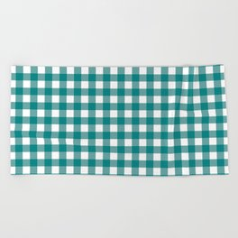 Gingham (Teal/White) Beach Towel