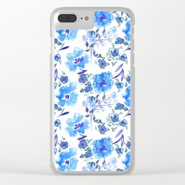 Watercolour Blue Floral Pattern Clear iPhone Case