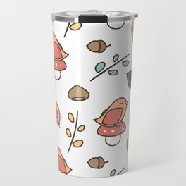 cute lovely autumn fall pattern with birds, mushroom, leaves, branches, acorns and chestnuts Travel Mug