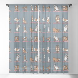 English Bulldog Yoga Sheer Curtain
