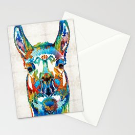 Colorful Llama Art - The Prince - By Sharon Cummings Stationery Cards