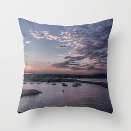 Sunset over Rockport Harbor Throw Pillow
