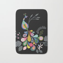 Boho-style peacock with black background Bath Mat