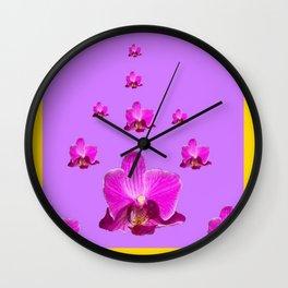 PURPLE ORCHID FLOWERS RAIN YELLOW ART Wall Clock
