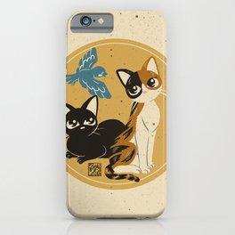 Cats meet the bird iPhone Case