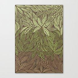 Polynesian Tribal Tattoo Shades Of Green Floral Design Canvas Print