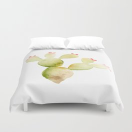 Cute Cactus - Green Succulent in Watercolor with Pink Flowers Duvet Cover