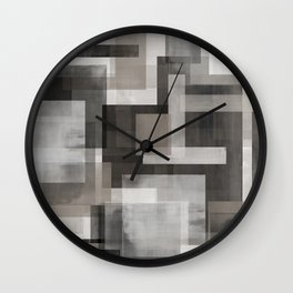 Modern Abstract No. 1    Black, White, Taupe + Gray Wall Clock