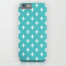 Fleur-de-Lis (White & Teal Pattern) iPhone Case