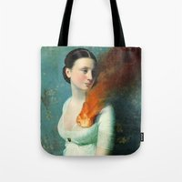 girls Tote Bags featuring Portrait of a Heart  by Christian Schloe