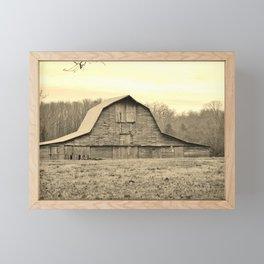 Sepia Tone Of Old Barn Framed Mini Art Print