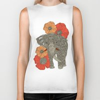 animals Biker Tanks featuring The Elephant by Valentina Harper