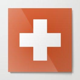Swiss Cross Orange Metal Print