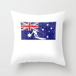 Australia flag surfing surfer vintage gift Throw Pillow