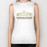 carousel Biker Tanks featuring Carousel - cream background by Little Moon Dance