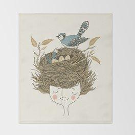 Bird Hair Day Throw Blanket