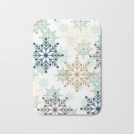Christmas pattern with snowflakes. Bath Mat